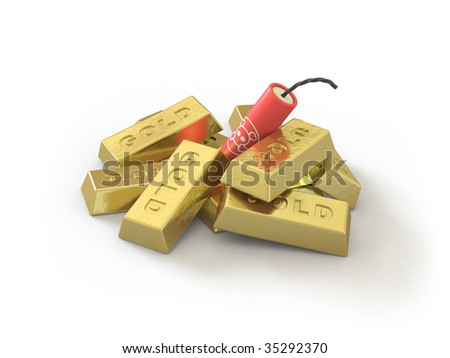 The gold ingot lies on a white surface. In my portfolio there is collection of pictures of bombsn and gold. You only enter IN a SEARCH the Photographer Name: PAVEL IGNATOV and keyword: BOMB or GOLD