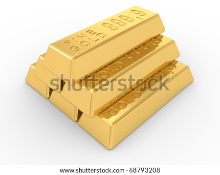 the gold ingots on a white background