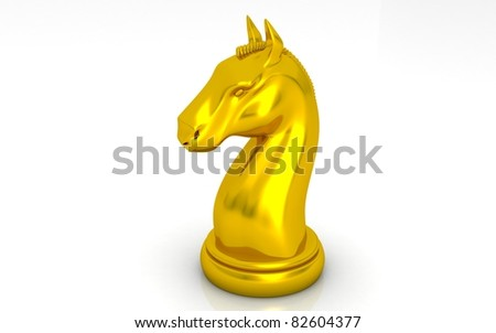 The gold knight chess piece on white background