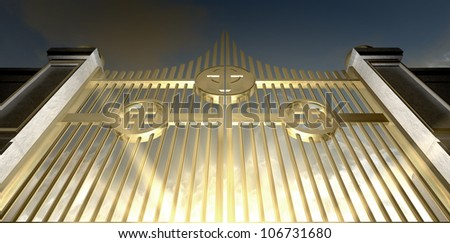 The gold pearly gates of heaven seen from the bottom looking upwards