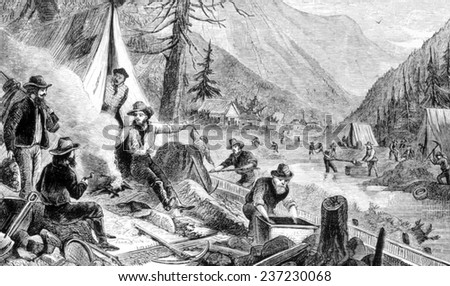 The Gold Rush, a gold miner camp in the Klondike, engraving 1898.