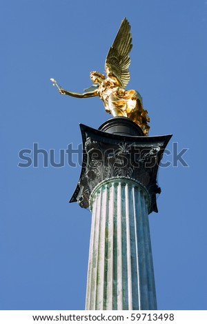 "The golden angel ""Friedensengel"" of Munich in Bavaria"