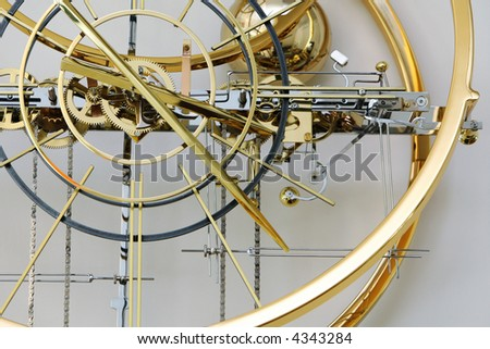 The golden clockwork, pinion, dial of big watch