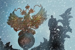 The Golden Coat of Arms of Russia is a Double-Headed Eagle during a Snowfall. Symbol Of Russia. The concept of a Russian Winter, Moscow, Travel, Tourism, Political Relations, Sanctions, Policy.