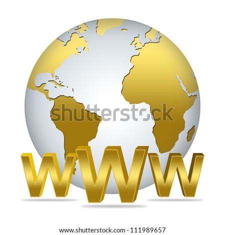 The Golden 3D WWW Text With Golden Globe For Internet and Online Concept Isolated on White Background