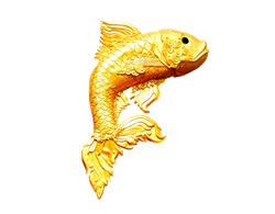 The golden fish of statue on isolate white background