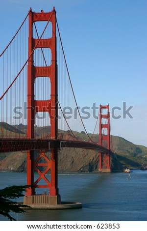 The Golden Gate Bridge as viewed from the Presidio.