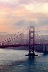 The Golden Gate Bridge at sunrise/dawn in San Francisco, California, United States of America.