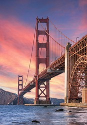 The Golden Gate Bridge in San Francisco is the most famous attraction visited by tourists from all over the world.