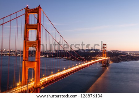 The Golden gate bridge in sunset