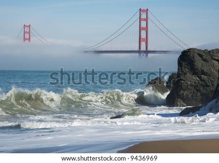 san francisco golden gate bridge fog. stock photo : The Golden Gate