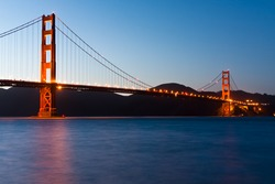 The Golden Gate Bridge in the San Francisco Bay Area. One of the most famous USA landmarks,