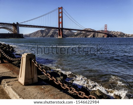 The Golden Gate Bridge is a suspension bridge spanning the Golden Gate, San Fransico, USA. It has been declared one of the Wonders of the Modern World. Сток-фото ©
