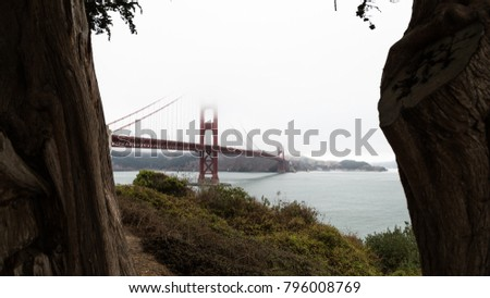 The Golden Gate Bridge is a suspension bridge spanning the Golden Gate,  strait connecting San Francisco Bay and the Pacific Ocean. #796008769
