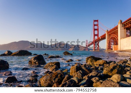 The Golden Gate Bridge is a suspension bridge spanning the Golden Gate, the one-mile-wide (1.6 km) strait connecting San Francisco Bay and the Pacific Ocean. San Francisco, California, United States. #794552758