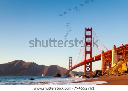 The Golden Gate Bridge is a suspension bridge spanning the Golden Gate, the one-mile-wide (1.6 km) strait connecting San Francisco Bay and the Pacific Ocean. San Francisco, California, United States. #794552761