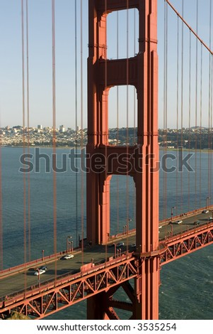 The Golden Gate Bridge is a suspension bridge spanning the Golden Gate, the opening into the San Francisco Bay from the Pacific Ocean