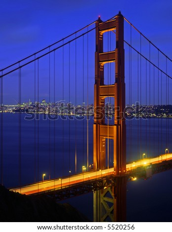 The Golden Gate Bridge photographed at dusk.