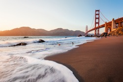The Golden Gate Bridge photographed during the late afternoon from Marshall's Beach. San Francisco, California, USA.