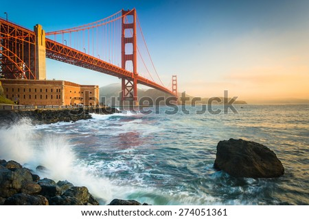The Golden Gate Bridge, seen at sunrise from Fort Point, San Francisco, California. #274051361