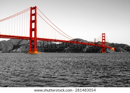 The Golden Gate bridge with a black and white background on a beautiful clear day in San Francisco.
