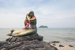 The Golden Mermaid Sculpture at Samila Beach Songkhla