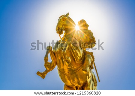 The Golden Rider (German: Goldener Reiter) in Dresden, Germany. It is a gilded equestrian statue of Augustus the Strong from 1743, one of Dresden's best known landmarks.