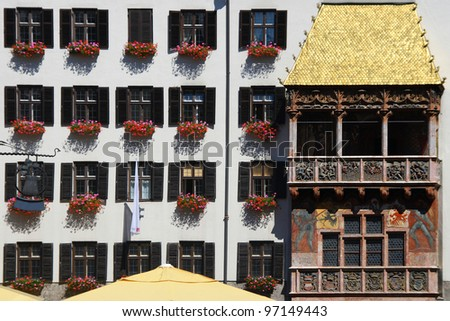 The Golden Roof (Goldenes Dachl), a landmark in Innsbruck, Austria.