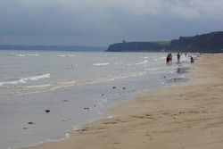 The golden sand of Benone Strand in the Causeway Coast, County Londonderry, Northern Ireland (UK)
