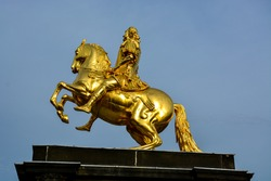 The golden statue of king Augustus in Dresden from the side