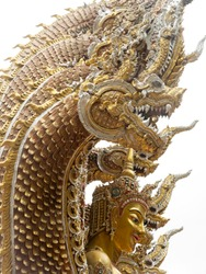 The Golden Statue of The Angel in The Nine Headed Serpent in The Temple ,Side View