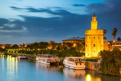 The Golden Tower (Torre del Oro) in Seville, Spain, is located at the margin of the Guadalquivir river and was built in the XIII century by the muslims ruling the area at the time.