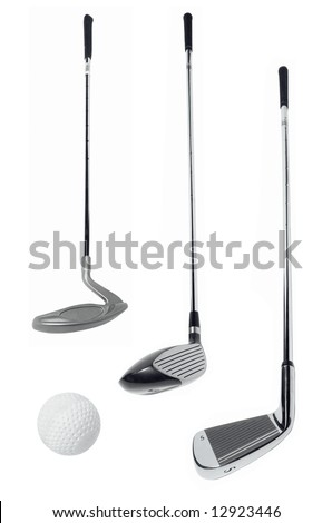 The golf accessories over white