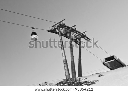 The gondola system of the Kaprun (black and white), Austria