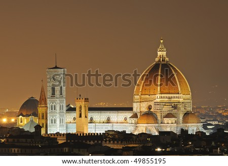 The gorgeous cathedral of Firenze (Italy), The Duomo, view from the Piazza Michelangelo.
