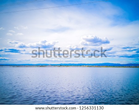 The gorgeous landscape of the natural park La Albufera in Valencia, Spain, Europe. The photo features the fresh water of the lagoon reflecting the sky. It was taken close to the El Palmar town.  #1256331130