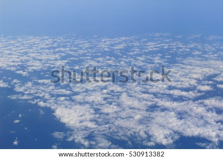 the gorgeous white clouds in the blue sky #530913382
