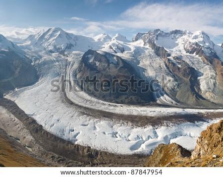The Gorner Glacier (Gornergletscher) in Switzerland is the second largest glacier in the Alps. #87847954