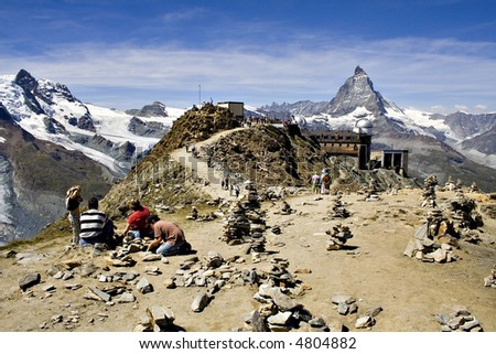 The Gornergrat peak observatory, with the Matterhorn in the background