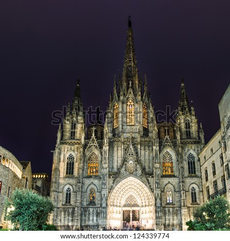 The gothic Barcelona Cathedral at night, Spain