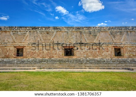 The Governor's Palace in the ancient Mayan city of Uxmal, Merida, Mexico #1381706357