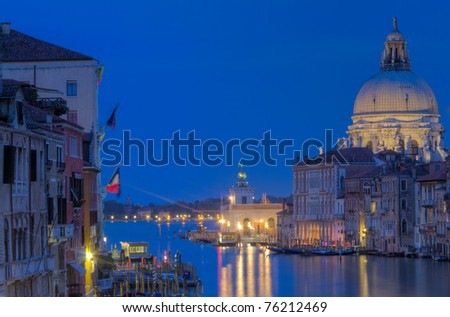The Grand Canal and Santa Maria della Salute at the blue hour, Venice, Italy