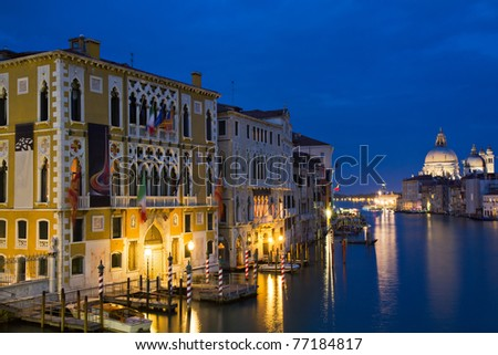 The Grand Canal at the blue hour as seen from the Accademia bridge, Venice, Italy