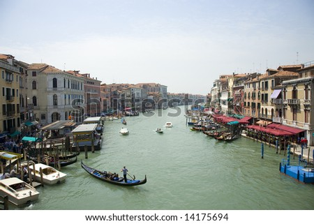 The Grand Canal of Venice Italy taken from a view on the Rialto Bridge - stock photo