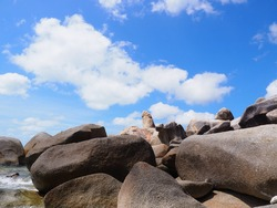 The grand father and mother rock or Hin Ta-Hin Yai, Koh Samui. Hin Ta-Hin Yai is another famous tourist attraction on the island. A natural stone shaped like male and female gender symbols