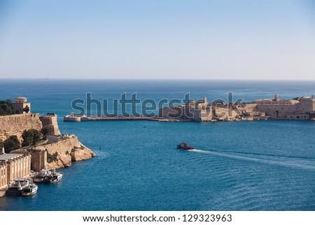 The Grand Harbour of Valletta, view from Upper Barracca gardens. Valletta, Malta - stock photo