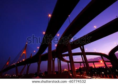 The Grand King Bhumibol Bridge Under Twilight, Bangkok-Thailand