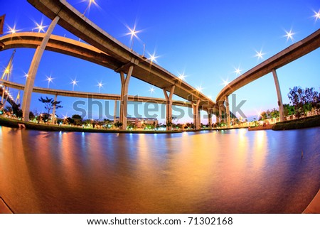 The Grand King Bhumibol Bridge under twilight, Bangkok, Thailand #71302168