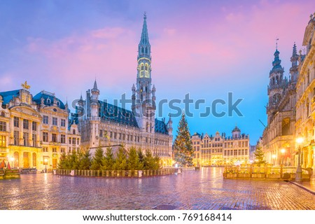 The Grand Place in old town Brussels, Belgium at twilight