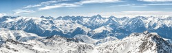 The grandiose and amazing panoramic view of freeze mountain range Alpes landscape scene from the highest nature peak panorama viewpoint. French Alps